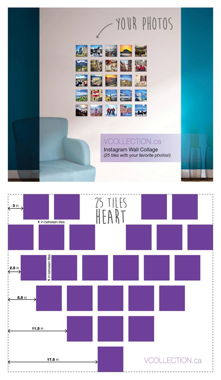 Instagram Wall Collage (25 tiles with your favorite photos!) / Wedding Gift / Baby Gift / House Warming Gift / Mother's Day Gift