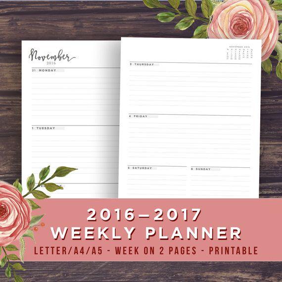 Printable 2017 Weekly Planner, Dated Week on 2 Pages ...