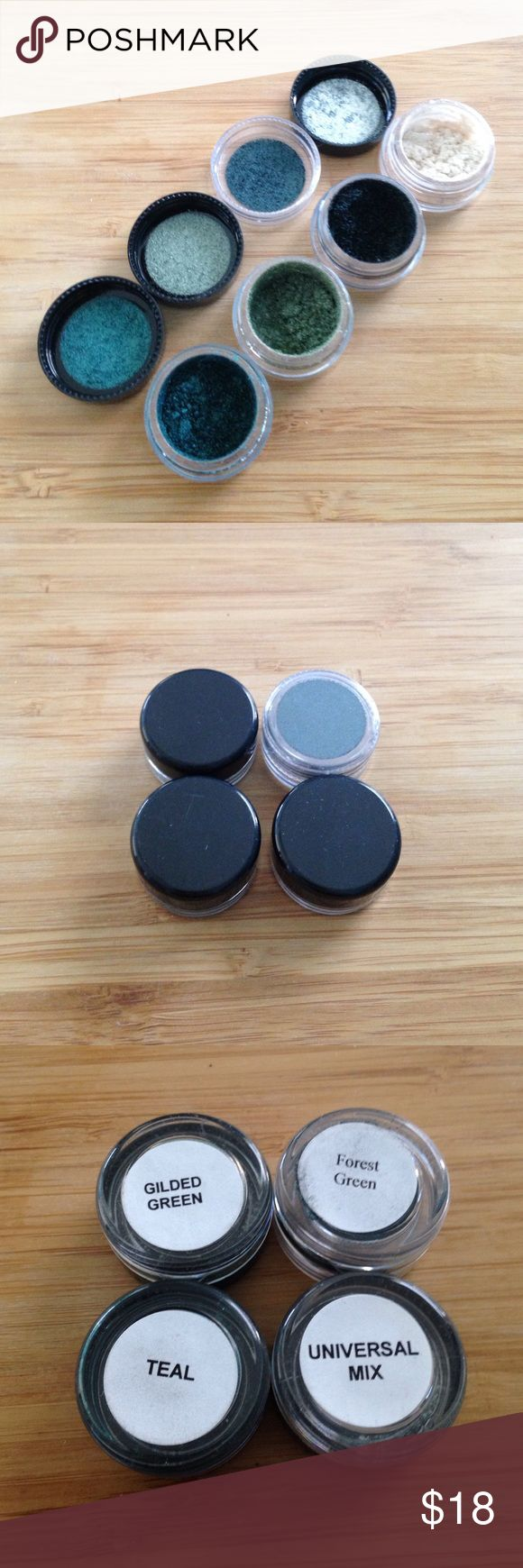 Four MAC Sample Pigments Brand new four MAC Sample Pigments - gilded green, forest green, teal and universal mix. Authentic - never swatched. No trades. Free gift with purchase. Join us to support families in need through our Poshmark closet!!!! NWT and lightly used all donated to go the extra mile! MAC Cosmetics Makeup Eyeshadow