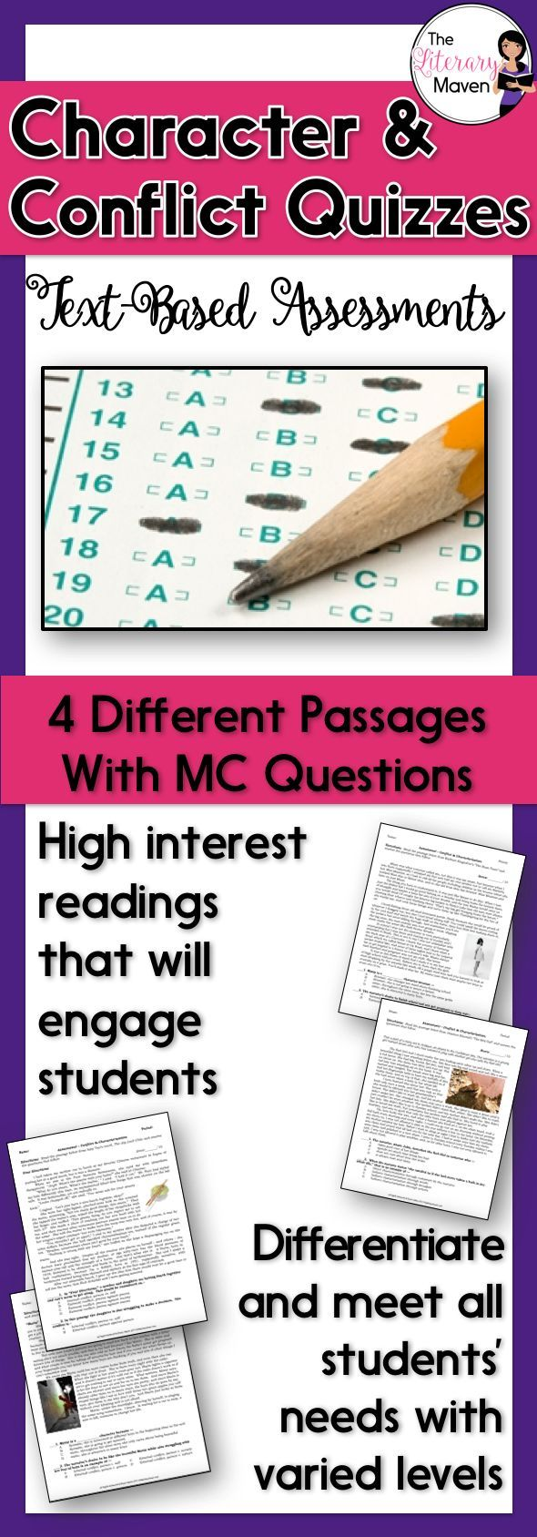 This is a set of text-based assessments that I use to assess my students' knowledge of conflict types, character types, and characterization. The variety of passages and text complexity levels allows you to retest students as needed and make accommodations for struggling readers. Each assessment includes a reading passage and 10 multiple-choice questions.  The skills and terms covered include: internal and external conflict, direct and indirect characterization, protagonist, antagonist, and…