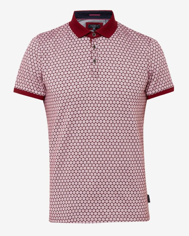 Spot print polo shirt - Red | Tops & T-shirts | Ted Baker