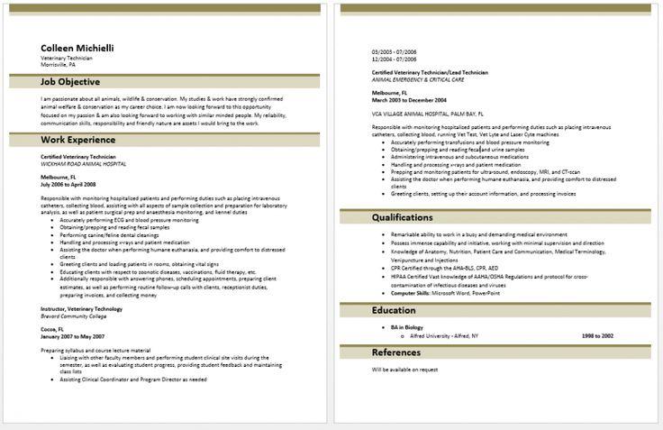 resume examples templates veterinary technician job objective sample maker software