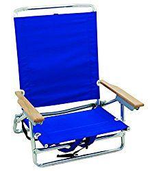 Rio Beach 5 Position Classic Lay Flat Backpack Beach Chair, Ocean Blue