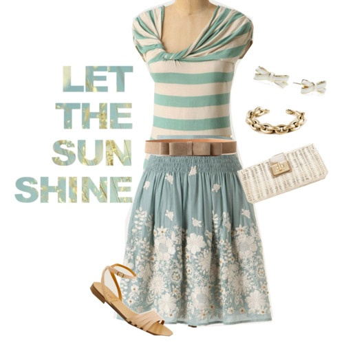 love it.: Interesting Shirts Skirts, Pretty Colors, Outfit, Feminine, Natural Lips, Flower, Cream Eyeshadows, Fashion Style Clothing, Belts