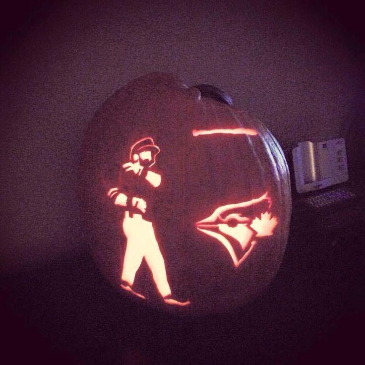 Amazing pumpkin carving of Toronto Blue Jays' Jose Bautista's epic bat flip in Game 5 of the ALDS. MLB. Baseball. Halloween. Jack-o-lantern. Texas Rangers.