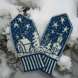 Inspired by the Norwegian winter and a picture of an old embroidered wall hanging these mittens came to live.
