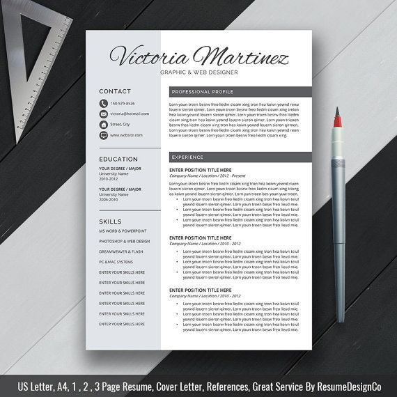 professional resume template cover letter cv template word