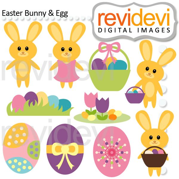 Easter Bunny And Egg Cliparts Are Featuring Cute Bunnies In Lovely Pastel Colors There