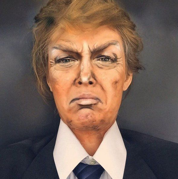 Pin for Later: Woman Transforms Into Zooey Deschanel, Ryan Gosling, and More With Makeup Donald Trump