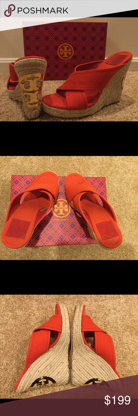Tory Burch Orange Espadrille Wedges Tory Burch Orange Espadrille Wedges open toe with gold Hardware! High heels but comfortable because of the wedge style. Tory burch symbol on the back of the wedge. Beautiful style and color! No dustbag or shoebox! Gently used! Tory Burch Shoes Wedges