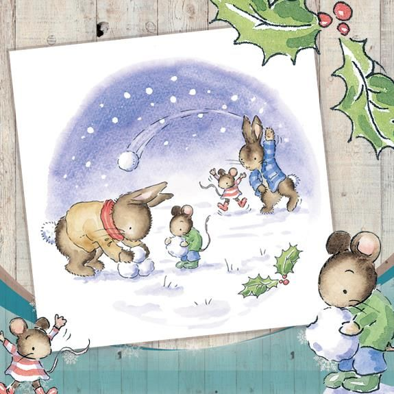 Snowballing Very Cute Phoenix Trading Christmas Cards 275 For A