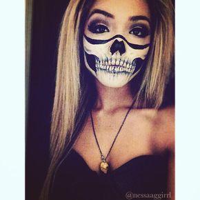 bones, costume, facepaint, girl, grunge, halloween, last minute, makeup, october, skeleton, skull, skullmakeup, diy costume, skullbandana, skullteeth, skullmouth