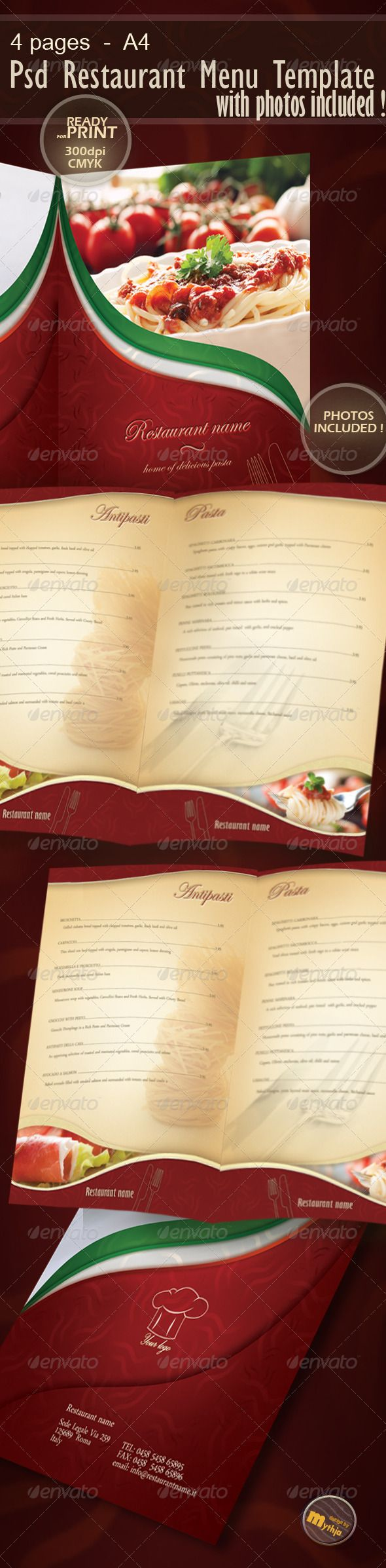 Restaurant Menu template with photos incuded #red #dinner #PSD • Click here to download ! http://graphicriver.net/item/restaurant-menu-template-with-photos-incuded/1176350?s_rank=122&ref=pxcr