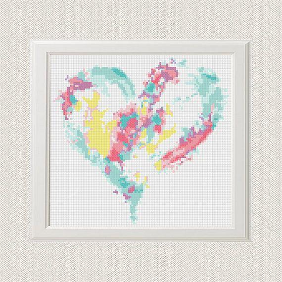 heart cross stitch pattern Watercolour cross stitch Modern