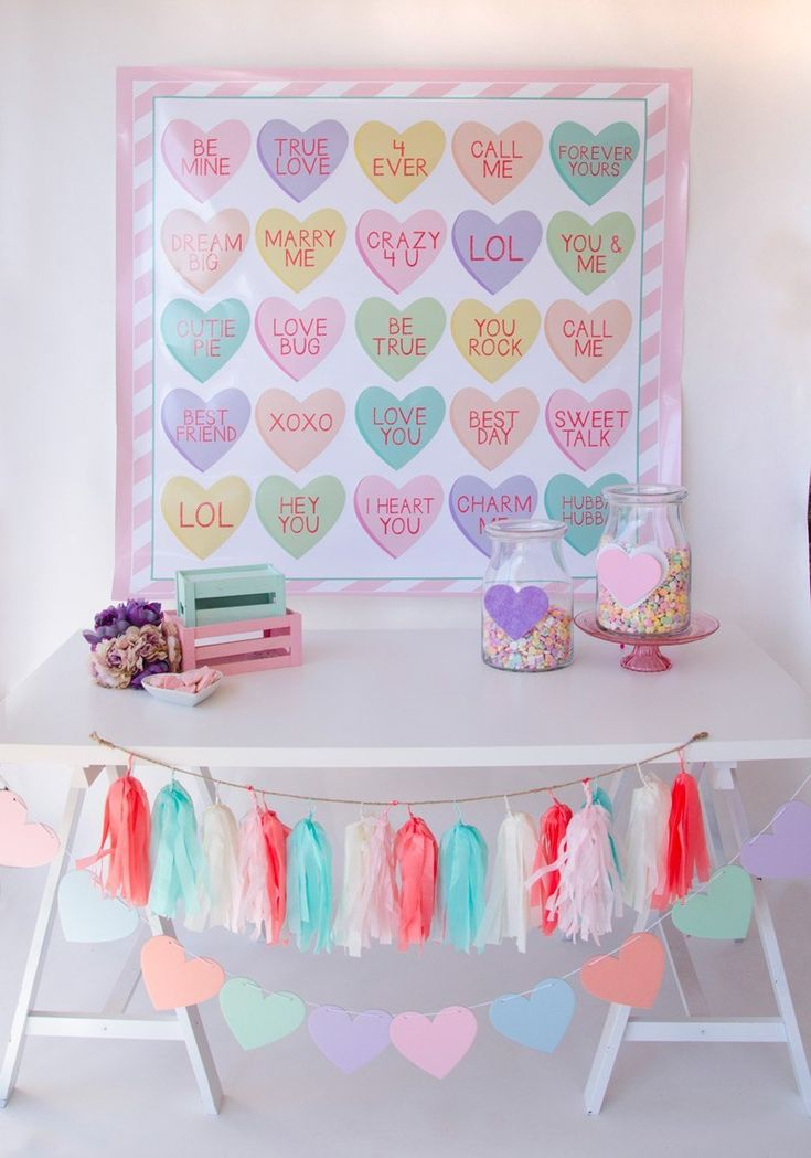 wedding photo booth props printable%0A Conversation Heart Valentine Backdrop by Lindi Haws of Love The Day