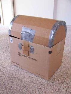 Pirate Week Day 4: Cardboard Treasure Chest Tutorial