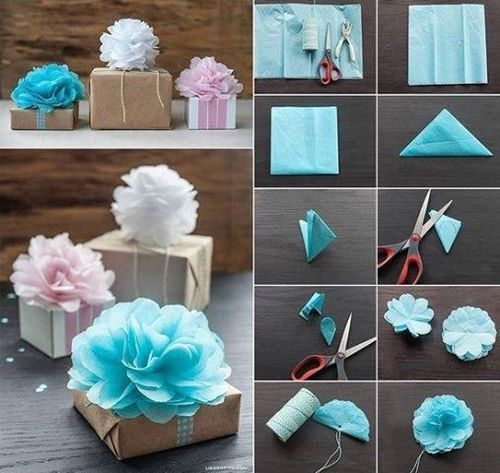Gift wrapping, homemade paper flowers