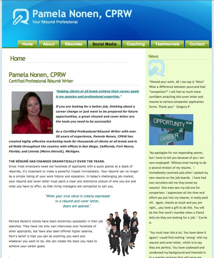 wwwyourresumeprofessional Pamela Nonen CPRW - certified resume writer