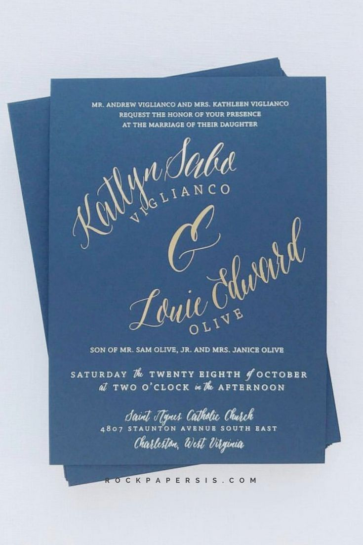 Navy wedding invitation with gold foil print