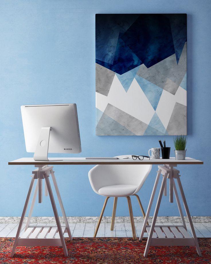 Abstract Printable Poster   Wall Art   Polygonal Art   Geometric   Watercolor   Wall Art   Modern Poster   Blue   Grey   Decor by KikimooPosters on Etsy https://www.etsy.com/listing/454335890/abstract-printable-poster-wall-art