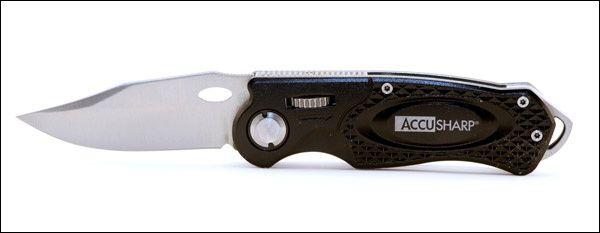 Accu-Sharp Black Sport Knife Razor Blade Thumb Lock 703C - $15.12