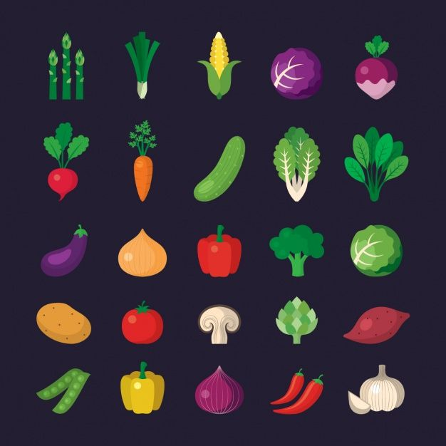 Vegetable icons collection Free Vector