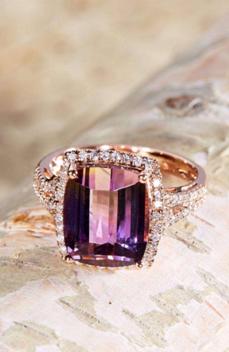 Anika and august 14k rose gold cushion cut bolivianite anahi ametrine and diamond ring by anika and august