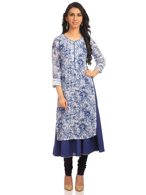 Buy Online Blue Poly Cotton Straight Kurta for Women & Girls at Best Prices in Biba India