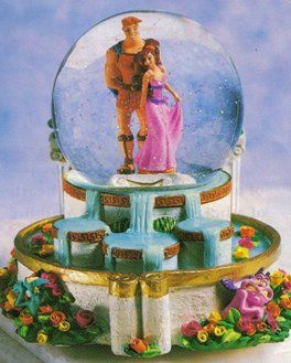 Hercules and Meg Snow Globe