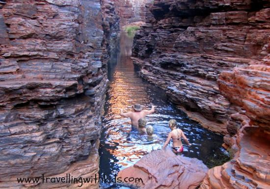 Travelling through Hancock Gorge in Karijini National Park, WA.  Never knowing how deep the next step was, only adding to the excitement!
