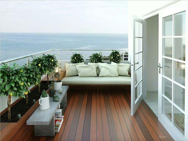 открытая терраса с балконом фото как