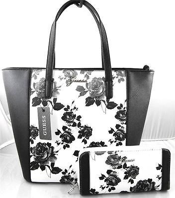AUTHENTIC NEW NWT GUESS SONJA BLACK WHITE TOTE BAG PURSE & WALLET