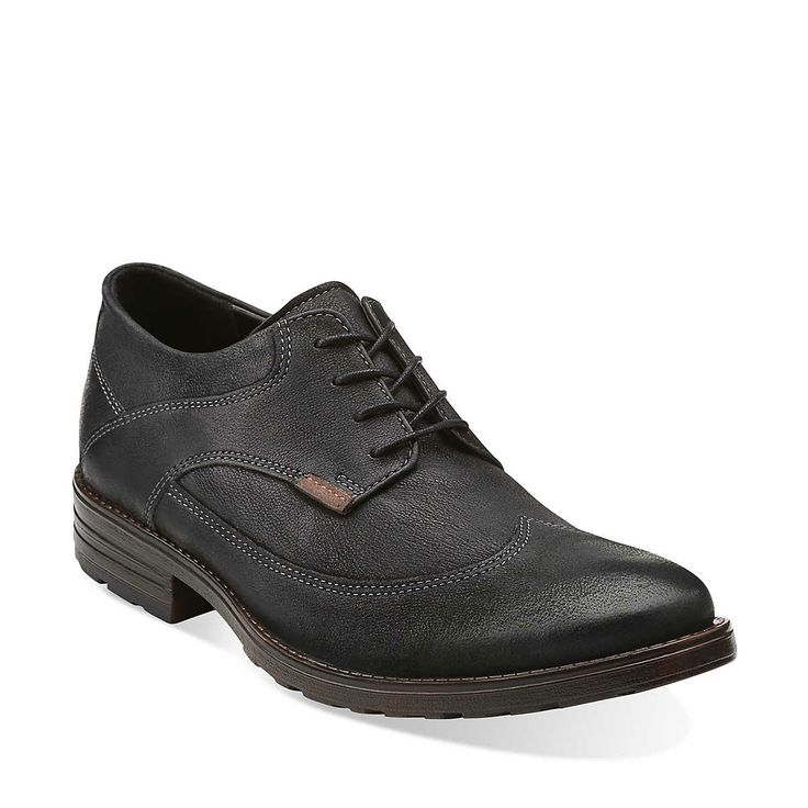 Denton Dane in Black Leather - Mens Shoes from Clarks