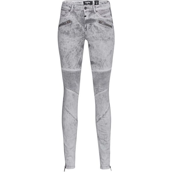 TIGHA Sacha Moon Grey // Skinny jeans in biker look ($190) ❤ liked on Polyvore featuring jeans, ankle zipper jeans, grey skinny jeans, cropped skinny jeans, slim jeans and mid rise jeans