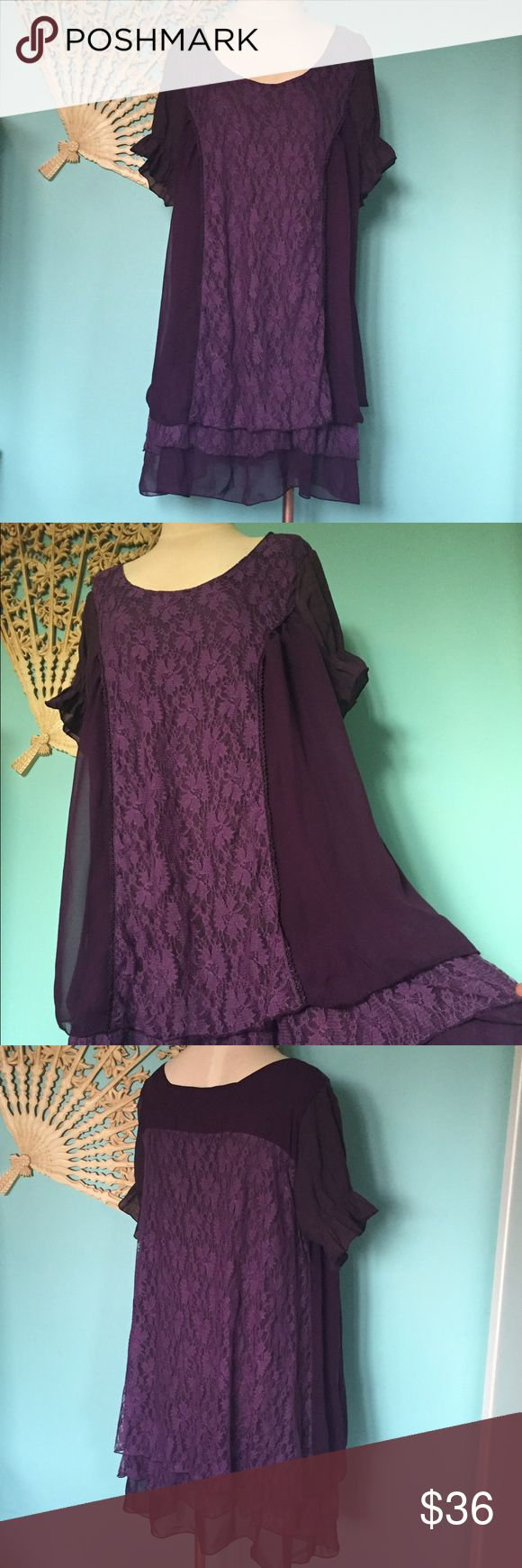 Gorgeous Purple BoHo lace free flowy slip dress This dress reminds me of a similar dress by Free People. Super luxe look!! It is so perfect for fall! Amazing deep amethyst/eggplant purple. Panels of lace and sheer material layers and lightly elastic sleeves. Really flowy and loose fitting.  Brand is Lily and is size large . Pair this dress with boots and leggings and you are ready for work or date night out!! Necklace is available in another listing. Belt not included. This color is truly…