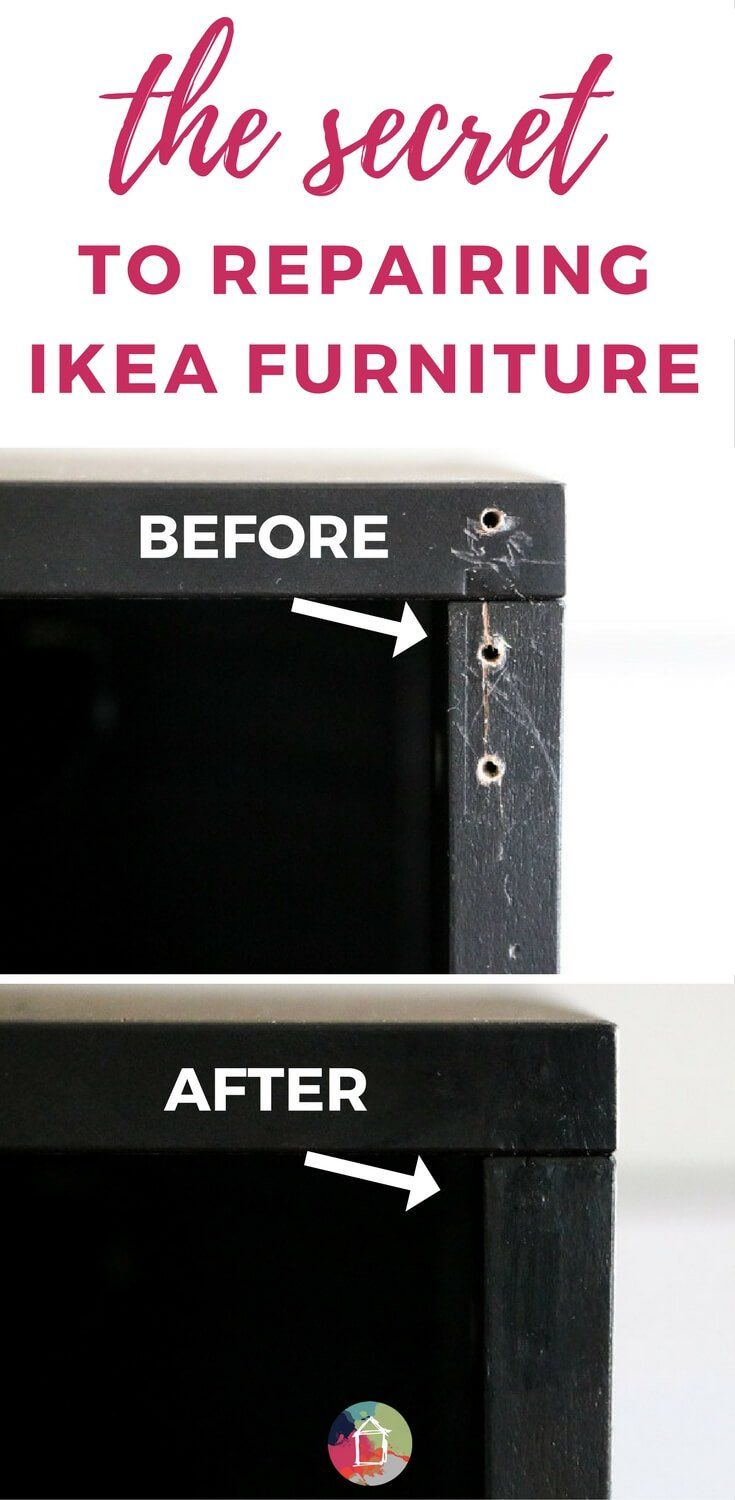 This easy furniture repair system makes it easy to repair furniture dings and dents in no time AND it MATCHES Ikea paint colors! It's an Ikea lover's dream come true!