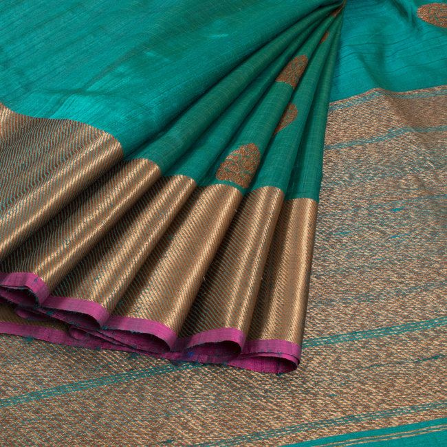 Shivangi Kasliwaal Greenish Blue Handwoven Banarasi Tussar Silk Saree With Buti Motifs 10008761 - AVISHYA.COM