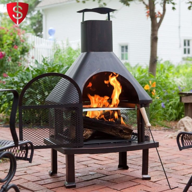 Patio Fire Pit with Cover Outdoor Fireplace Heater Garden Steel Backyard 4 ft. #RedEmber