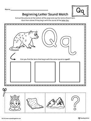 letter q beginning sound picture match worksheet a to z activity preschool letters. Black Bedroom Furniture Sets. Home Design Ideas