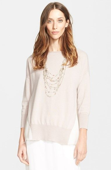 Fabiana Filippi Chiffon Panel Cashmere Sweater available at #Nordstrom