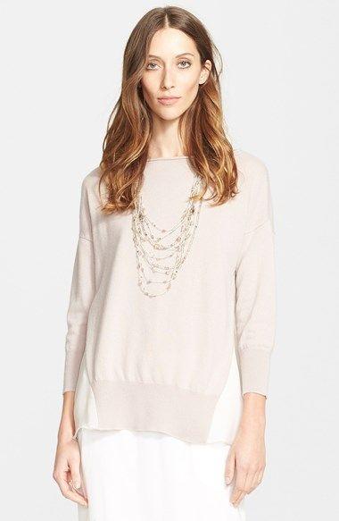 Fabiana Filippi Chiffon Panel Cashmere Sweater available at #Nordstrom