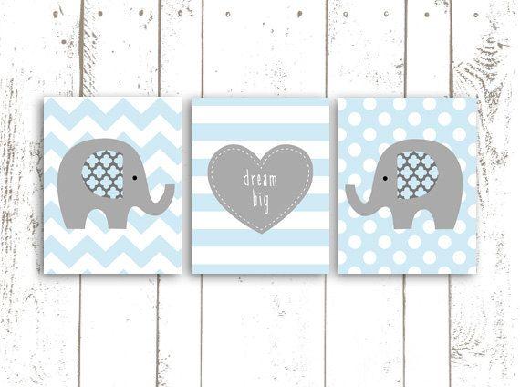 Elephant Art Print Nursery Printable Blue by MooseberryPrintables, $15.00