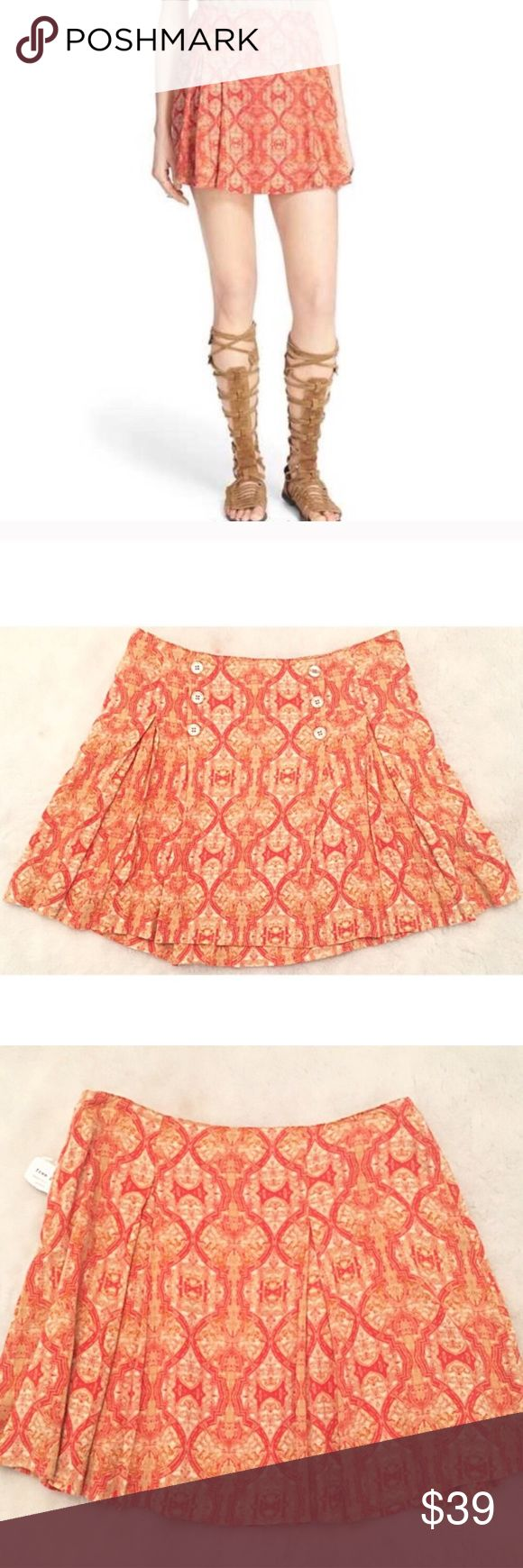 "❣BOGO 1/2 off❣🆕 Free People Poppy combo skirt 6 NWT, flawless. Pretty colors of orange, beige, & tan. Fully lined. 100% rayon. Side zip. Size 6. Measures 16"" long & 28"" waist. ❣Ask me how to BOGO HALF price! ✖️I do NOT MODEL✖️ 🔴Bundle to save! 🔴NO TRADES. 🔴REASONABLE offers welcome via offer button. 🔴Smoke-free home. Fast shipping! Free People Skirts"