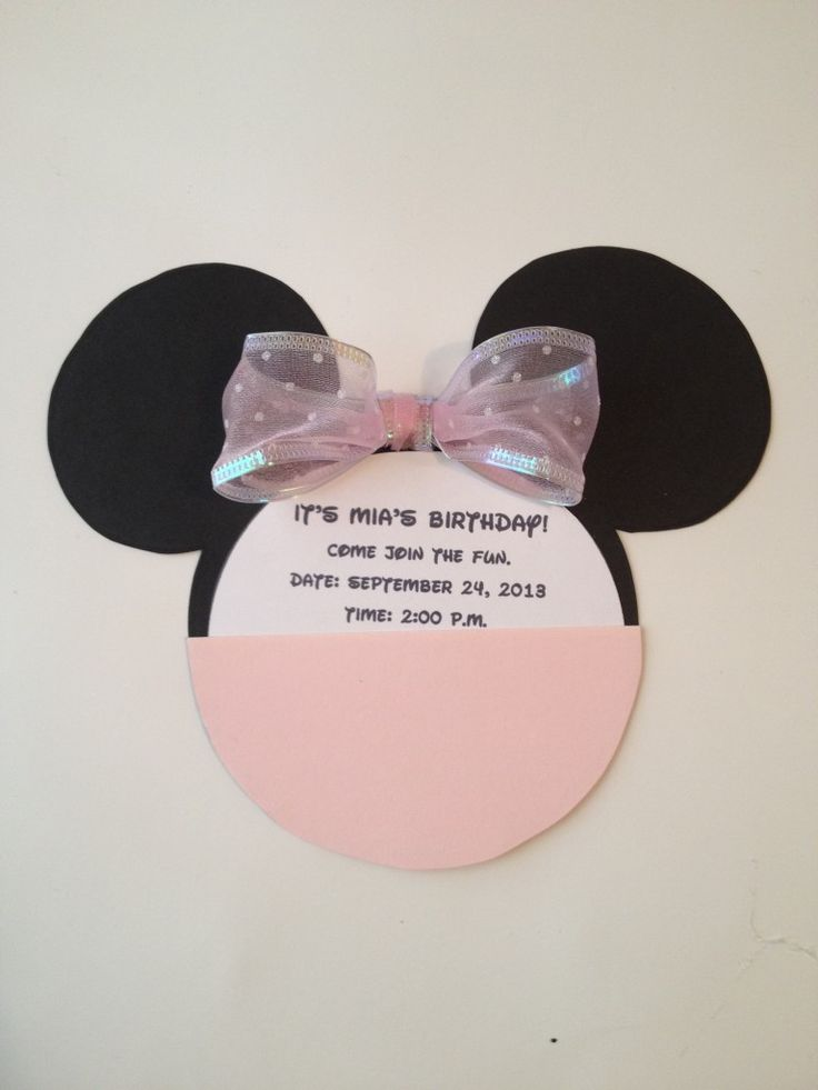 DIY Minnie Mouse Invitation With Real Bow