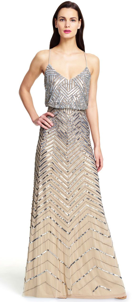This would work with my beaded bolero Chevron Beaded Blouson Gown - Adrianna Papell