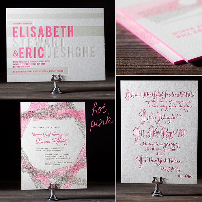 standard size wedding invitation%0A  Neon  pink letterpressed wedding invitations