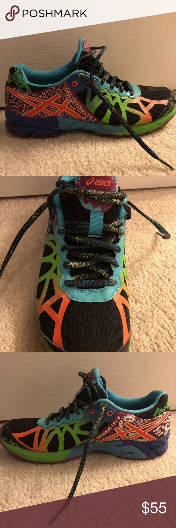 ASICS gel noosa Tori-9's women's running shoes ASICS gel noosa Tri-9s neon running shoes. PERFECT condition, not much wear. Worn in gym a handful of times. So comfy. Asics Shoes Athletic Shoes