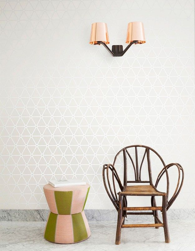 Ivory hexagonal geometric wallpaper by Walls Republic