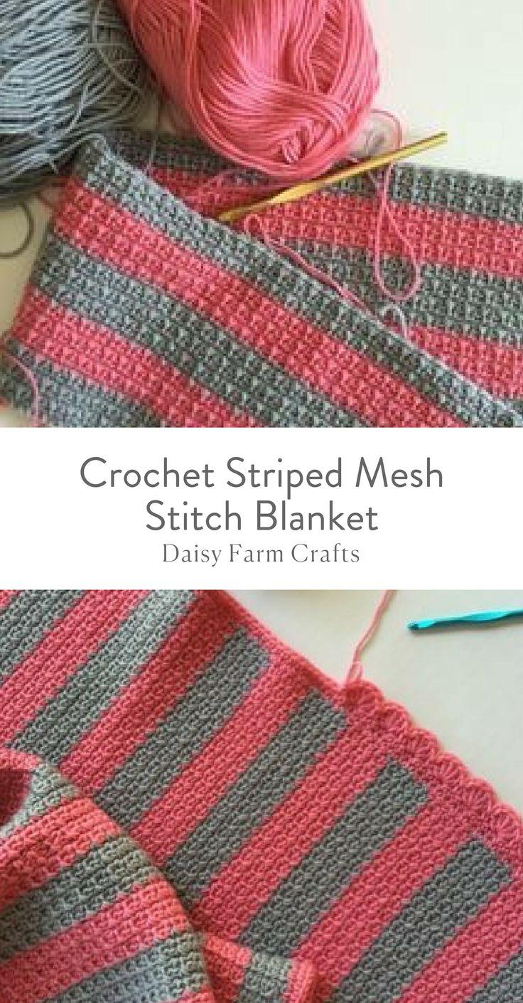 Free Pattern - Crochet Striped Mesh Stitch Blanket