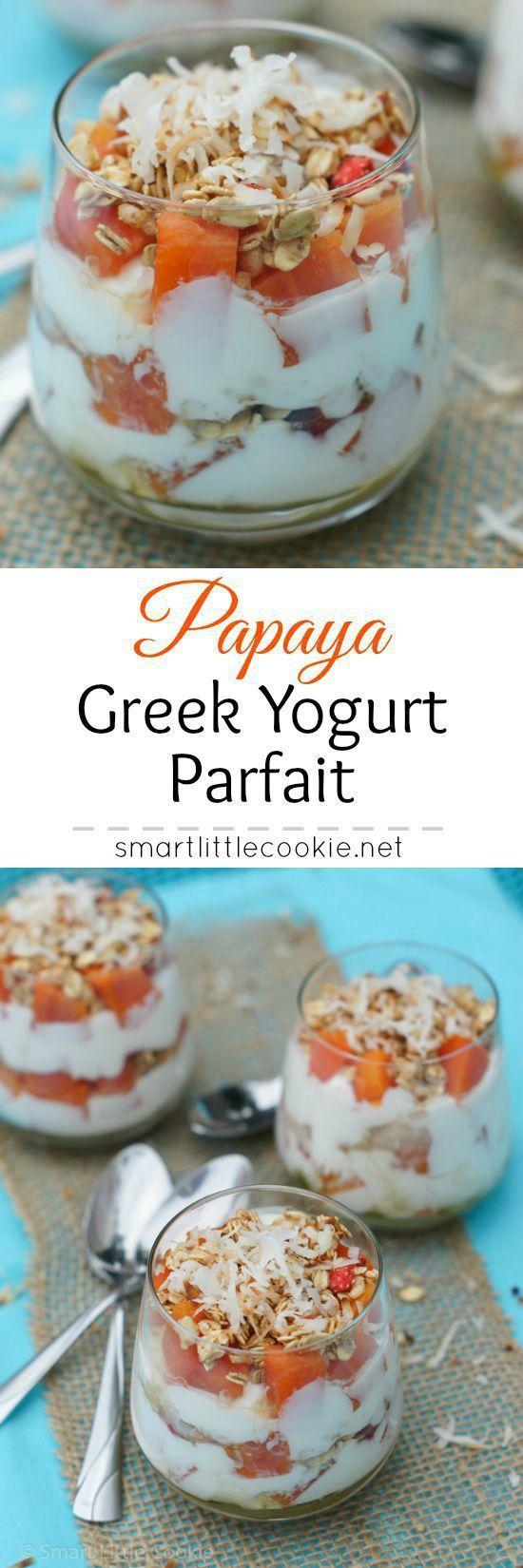 Papaya Greek Yogurt Parfait | http://smartlittlecookie.net